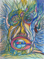 Ferrari-Nunes, Rodrigo (2010) 'Sound' - Self Portrait #1 (Oil Pastels on Paper)