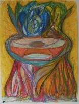 Ferrari-Nunes, Rodrigo (2010) O Vaso e a Fruta (wax pastels on paper)